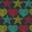vector background in grunge style. Linear stars and hearts  — Imagen vectorial