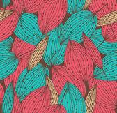 Ozdobny wzór kwiatowy, kolorowe tło z rzędami liści. mogą być używane do tapety, strony internetowe, karty, sztuki, chropowatości, ubrania ozdoby — Wektor stockowy