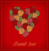 Sweet love. Template with berries and heart for greeting cards, wedding cards, crafts, gifts. Can be print on cups, bags, cards, gifts, souvenirs. Decorative heart berries banner with place for text — Stock Vector