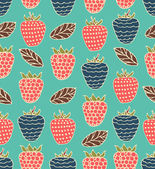 Seamless berries pattern. Colorful floral background can be used for cards, gifts, prints, crafts. — Stock Vector