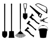 Set of implements. Contour collection of instruments. Black isolated silhouettes of garden tools. Shovel, spade, axe, saw, handsaw, bucket, pail, rake garden shears — Stock Vector