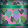 Seamless background with hearts and satiny ribbon. Endless grunge banner with place for text — Stockvectorbeeld