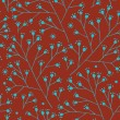 Floral red and turquoise pattern with dots berry. Branches seamless background can be used for wallpaper, pattern fills, web page background, surface textures — ベクター素材ストック