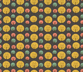 Seamless autumn pattern with trees and bushes. Endless background hand drawn vector texture for wallpaper, wrapper, cover, crafts, clothes, art — Stock Vector