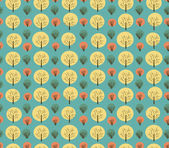 Seamless bright autumn pattern with trees and bushes. Endless background hand drawn vector texture for wallpaper, wrapper, cover, crafts, clothes — Stock Vector
