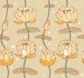 Lotus bright background. Floral pattern with water lilies. Seamless cute backdrop can be used for greeting cards, arts, wallpapers, web pages, surface texture, clothes, prints — Stock Vector
