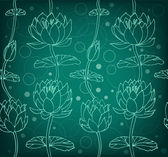Lotus silhouette background. Dark floral pattern with water lilies. Seamless lace backdrop can be used for greeting cards, arts, wallpapers, web pages, surface texture, clothes, prints — Stock Vector