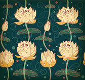 Lotus background. Floral pattern with water lilies. Seamless nenuphar cute backdrop can be used for greeting cards, postcard, arts, wallpapers, web pages, surface texture, clothes, prints, tapestry — Stock Vector