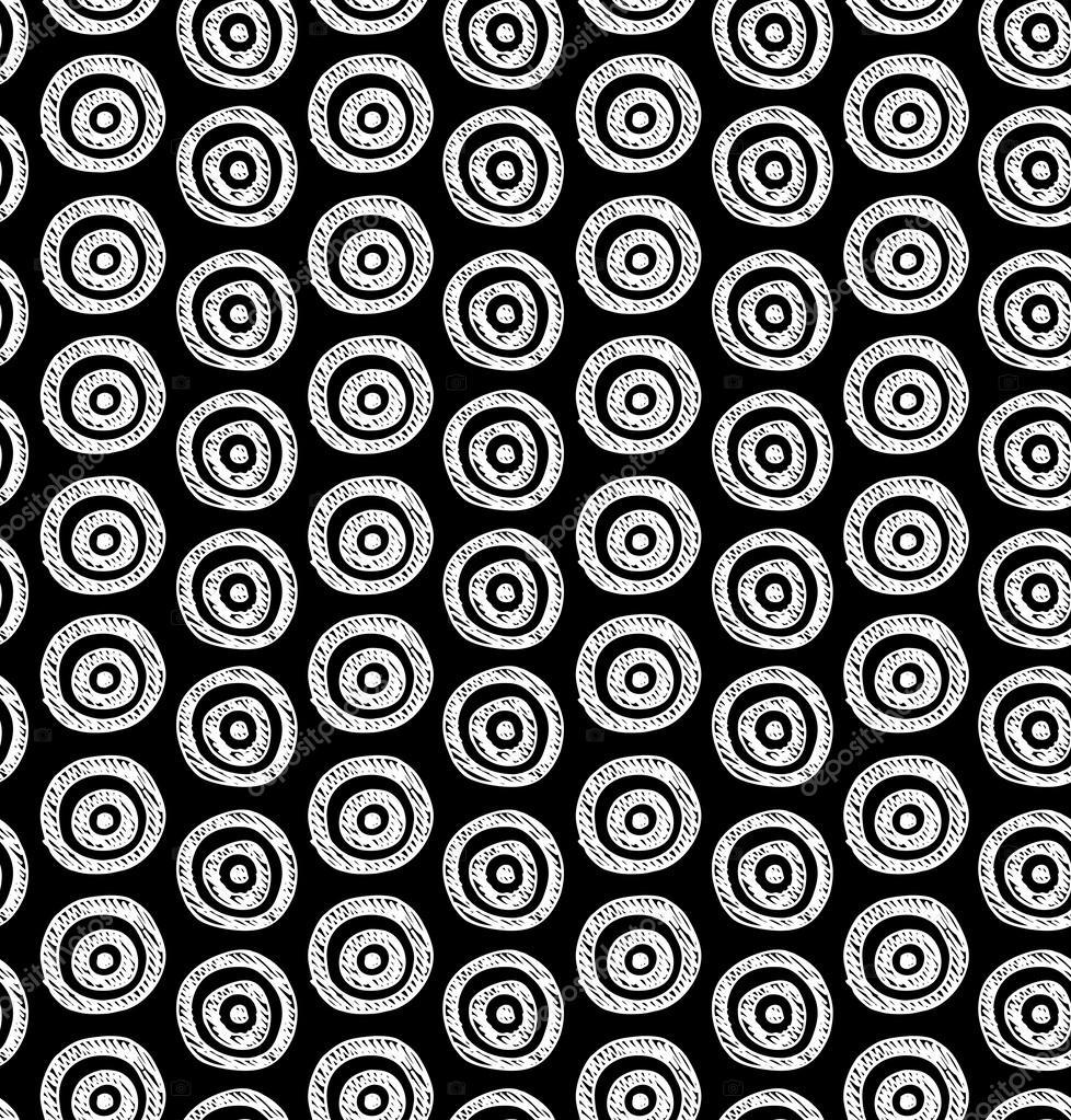 vektor abstrakt nahtlose schwarz wei hand gezeichneten kreise muster einsetzbar f r tapete. Black Bedroom Furniture Sets. Home Design Ideas