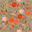Summer seamless pattern with orange branches. Decorative floral background can be used for wallpaper, pattern fills, web page, surface textures. Gorgeous endless floral backdrop — Stock Vector