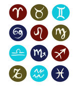 Hand drawn signs of zodiac sorted by order. Vector set of zodiac icons — Stock Vector