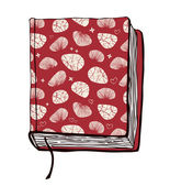 Vector illustration with hand drown red cover. Can use for passport cover, notebook cover, diary cover, phone cover. Sketch of book. — Stock Vector
