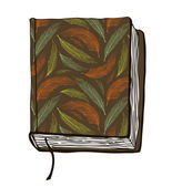 Vector illustration with hand drown brown cover. Can use for passport cover, notebook cover, diary cover, phone cover. Sketch of book — Stock Vector