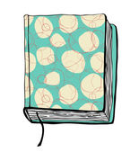Vector illustration with hand drown turquoise cover. Can use for passport cover, notebook cover, diary cover, phone cover. Sketch of book. — Stock Vector