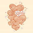 Stockvector : Ginger linear hearts
