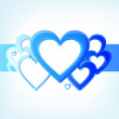 Stripe of blue hearts — Stock Vector