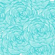Stockvector : Turquoise linear flowers background