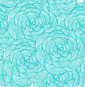 Turquoise linear flowers background — Stock Vector