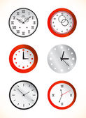 Red and grey clocks — Stock Vector