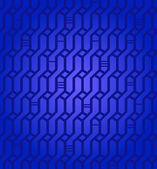 Ornate geometric deep blue pattern. Network seamless background. Wickerwork. Decorative texture for design textile, wrapping papers, packages, tiles — Stock Vector