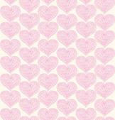 バラの華やかなシームレス パターン レースのハートと。装飾的な生地のテクスチャ — ストックベクタ