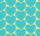 Seamless pattern with mosaic hearts. Decorative doodle texture — Stok Vektör