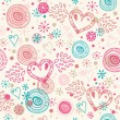 Doodle seamless background with hearts — Stock Vector