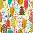 Stock Vector: Seamless background with decorative trees. Forest colorful pattern