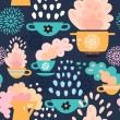 Decorative seamless kitchen pattern. Background with cups, teapots, coffee and pan, saucepan. Pots and pans — Stock Vector