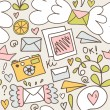 Seamless mail pattern. Decorative post backgrounds with letters, camera, fruits, and other cute elements — Stok Vektör