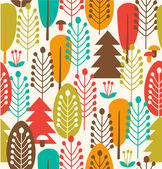 Seamless background with decorative trees. Forest colorful pattern — Stock Vector