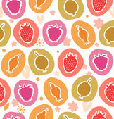 Summer berries collection. Floral cute pattern. Seamless decorative country background — Stock Vector