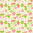 Unusial seamless floral pattern. Decorative doodle background with stylized flowers and leaves — Stock Vector