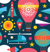 Decorative seamless sky pattern. Background with air balloon, helicopter, kite, airplane sky rocket. Childish geometric texture — Stock Vector