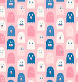 Seamless pattern with cute ghosts, spectres. Spooks background. Halloween texture — Stock Vector