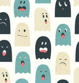 Seamless pattern with cute ghosts, specters. Spooks background — Stock Vector