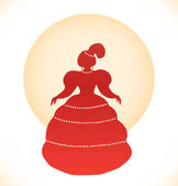 Vintage woman silhouette. Retro image of aristocratic woman. Lady in ball dress — Stock Vector