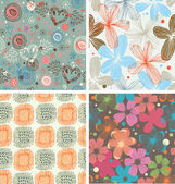 Cute collection of floral patterns. Set of beautiful unusual backgrounds with decorative flowers — Stock Vector