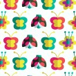 Decorative seamless pattern with insects and flowers. Background with ladybirds, flowers and butterflies — Stock Vector