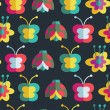 Summer seamless pattern with insects and flowers. Background with ladybirds, flowers and butterflies — Stock Vector
