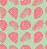 Pastelové bezešvé pozadí. vzorek s dekorační kamínky a mušle — Stock vektor