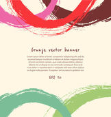 Grunge paint banner. Artistic colorful background with drawn rings — Stock Vector