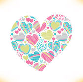 Colorful love ornamental pattern on heart — Stock Vector