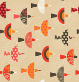 Seamless ornate pattern with birds — Stock Vector