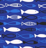 Decorative drawn pattern with funny fish. Seamless marine background — Stock Vector