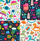 Color vector pattern. Aliens, ships, toys, flora — Stock Vector