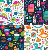 Color vector pattern. Aliens, ships, toys, flora — Stock Vector