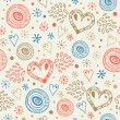 Abstract decorative seamless background with fly hearts. Endless doodle pattern. Ornamental holiday texture — Grafika wektorowa