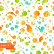 Grunge multicolor abstract seamless background. Dotted texture. Pattern with spots of ink. Blots. Stains — Stock Vector