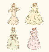 Retro isolated women sketches. Vintage collection of retro women. Set of women in modern dresses — Stock Vector